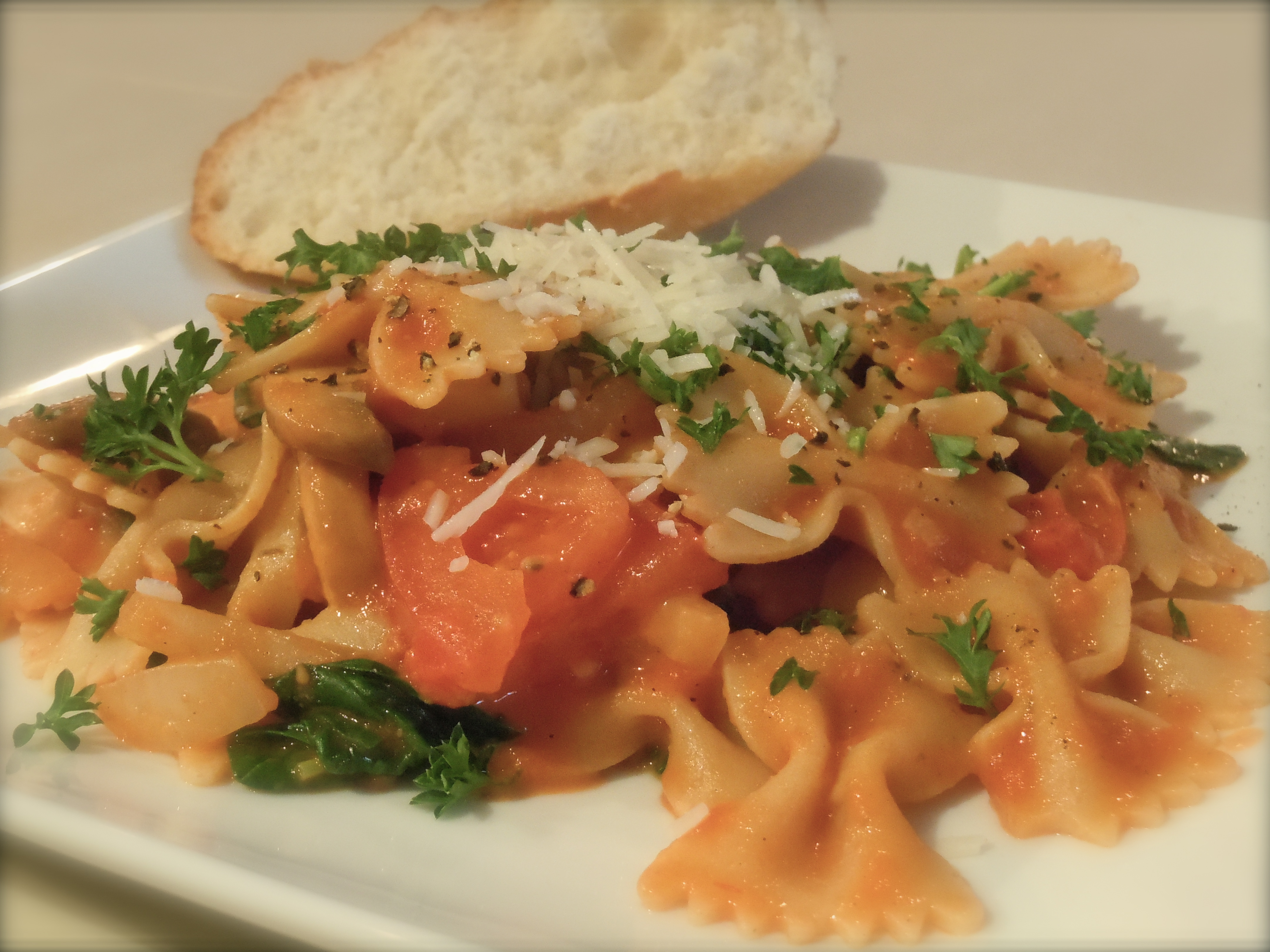... rezept yummly farfalle abruzzese with veal porcini and spinach recipes